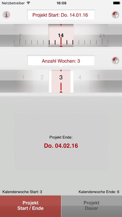 Screenshot Kalenderwochen-Rechner